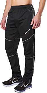 BALEAF Men's Bike Running Pants Fleece Athletic Pants Windproof Lightweight Winter Sport Workout Pants with Zipper Pockets