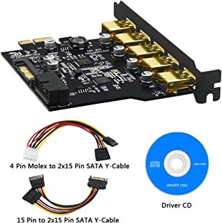 BEYIMEI PCI-E a USB 3.0 Tarjeta de expansión PCI Express de 5 Puertos y Conector de alimentación de 15 Pines, Conector Interno de 20 Pines - Amplíe Otros Dos Puertos USB 3.0