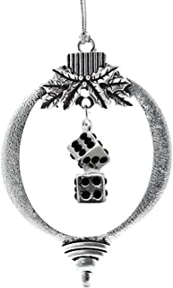 Inspired Silver - 1.0 Carat Dice Charm Ornament - Silver Customized Charm Holiday Ornaments with Cubic Zirconia Jewelry