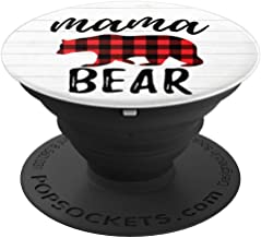 Mama Bear Buffalo Red Plaid PopSockets Grip and Stand for Phones and Tablets