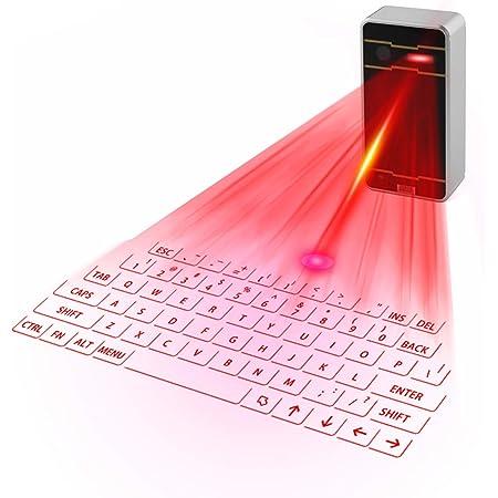 Zeerkeers Mini Teclado Virtual Bluetooth Inalámbrico Proyector Mini Teclado Portátil Para Ordenador, Teléfono, Pad Portátil (Negro)