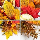 KI Store Künstliche Kranz Herbst türkranz beleuchtet, Blätterkranze Ahornblatt Licht Kürbisse mit led für Erntedankfest, Hochzeit, Halloween deko Haustür deko tischdeko Ø45cm - 3