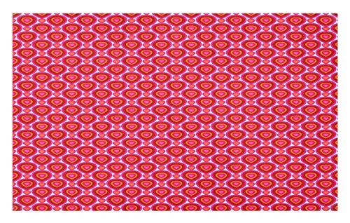 ABAKUHAUS Corazones Tapete, Baldosa Colorido día de San Valentín, Decorativo con Fieltro de Poliéster Estampado Base Antideslizante, 45 cm x 76 cm, Naranja Rojo Rosa