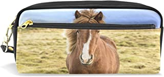 ALAZA Horse On Grassland Pencil Case Zipper PU Leather Pen Bag Cosmetic Makeup Bag Pen Stationery Pouch Bag Large Capacity