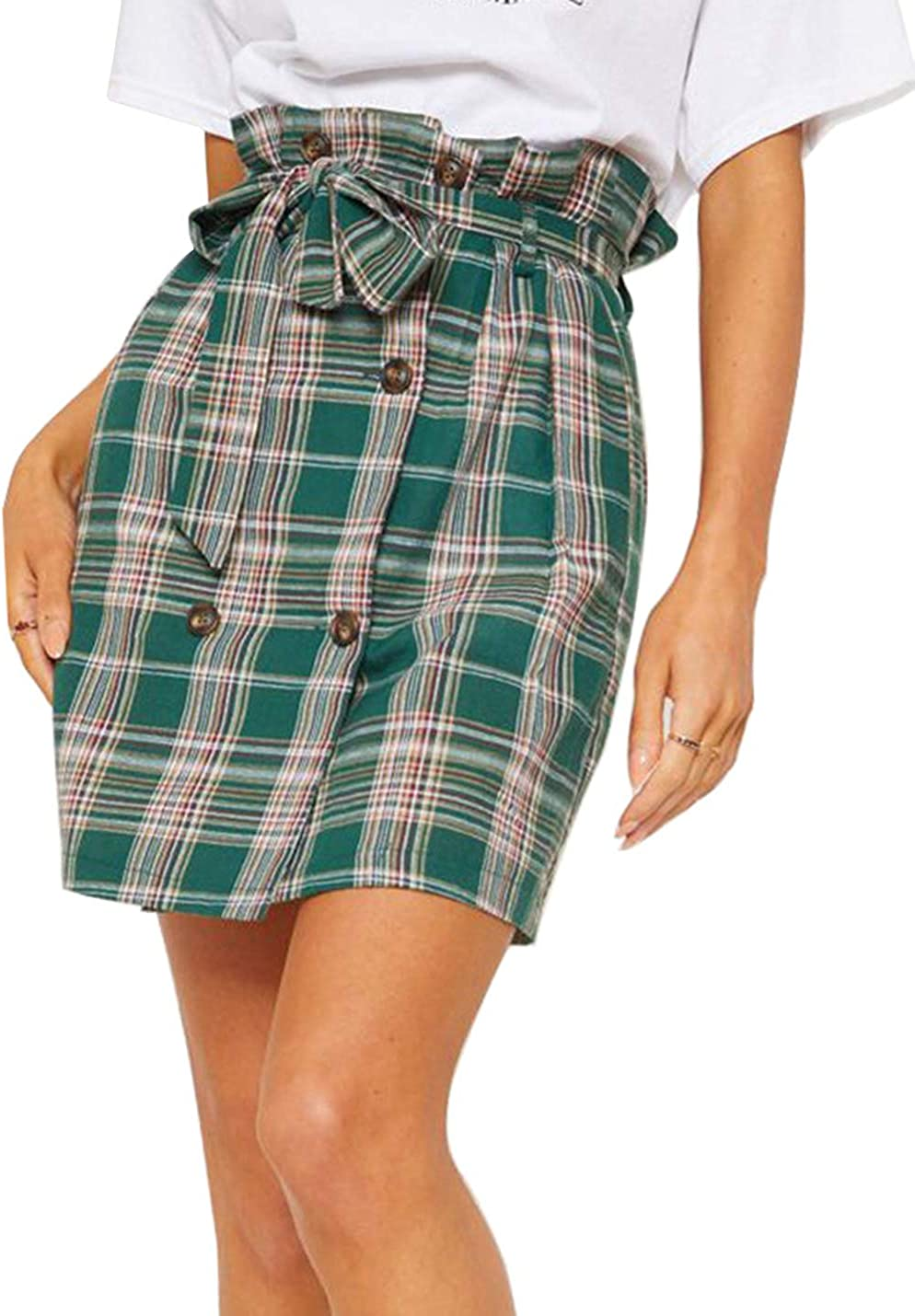 Yeokou Women's Casual Elastic Paperbag Waist Plaid A-line Skirts with Belt