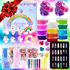 Slime Kit - Slime Supplies Slime Making Kit for Girls Boys, Kids Art Craft, Crystal Clear Slime, Glitter, Unicorn Slime Charms, Fruit Slices, Fishbowl Beads Girls Toys Gifts for Kids Age 6+ Year Old 2