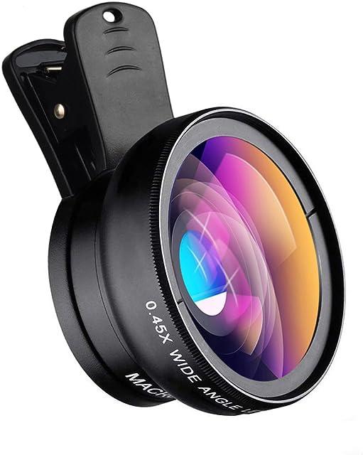 Apexel Universal Phone Cameras Lens Kit 0.45X Lente Gran Angular 140 ° + 12.5X Lente Macro Clip-on Lente de iPhone para iPhone 8 7 6 Plus Samsung y la mayoría de teléfonos Inteligentes Android