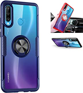 Huawei P30 lite Case,360°Rotating Ring Kickstand Protective Case,Silicone Soft TPU Shockproof Protection Thin Cover Compatible with [Magnetic Car Mount] for Huawei P30 lite Case (Blue/Black)