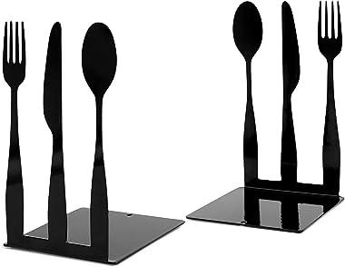 Cookbook Bookends, Kitchen Fork Knife Spoon Metal Decorative Book Ends Support for Shelves , Cookbook Storage Modern Function