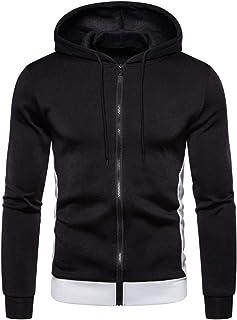 Cool Mens' Zipper Splicing Button Pullover Long Sleeve Hooded Sweatshirt Tops Blouse