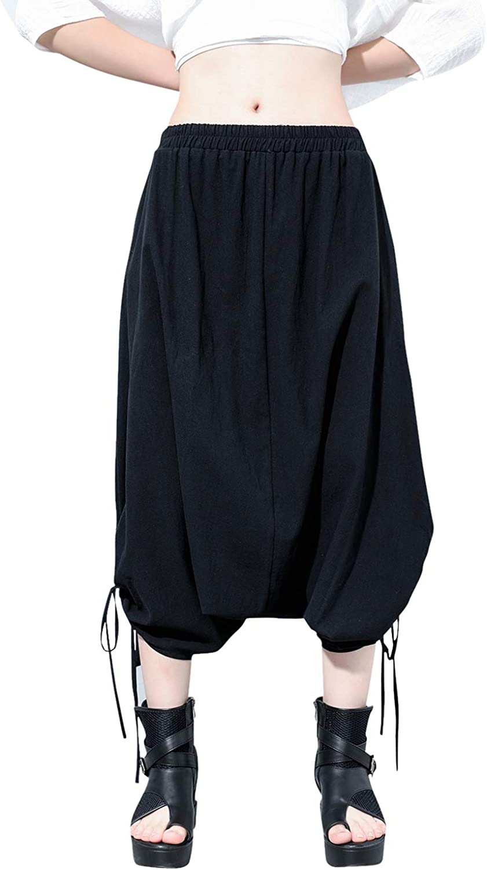 ellazhu Women Black Side Pockets Loose Casual Fashion Cropped Harem Pants GY2471
