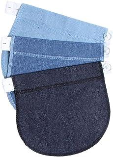 IPOTCH 3 Pieces Adjustable Denim Pants Button Waist Extender For Pregnant Women