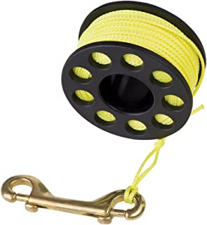 Finger Reel with Brass Clip Wreck Scuba Diving Tech Spool 3 Sizes, Medium 100 FT