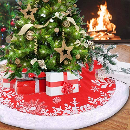 Red Christmas Tree Skirt, 48 Inch Double Layers Thick Xmas Tree Rug Christmas New Year Holiday Festival Decorations