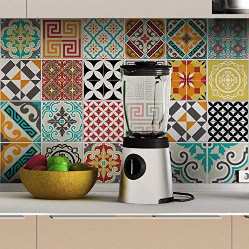 Pegatinas adhesivas de azulejos | Pegatinas adhesivas azulejos de cemento – Mosaico azulejos de pared baño y cocina | Azulejos adhesivos de pared – 15x15cm 24 piezas Tina