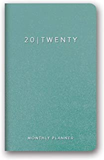 Orange Circle Studio 2020 Leatheresque Mini Monthly Planner, Teal Shimmer