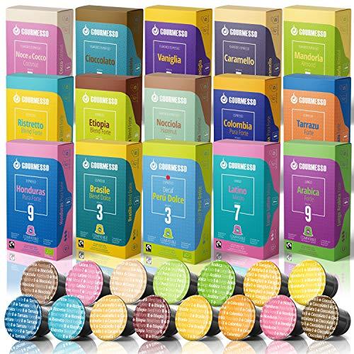 Gourmesso Espresso (Trial Pack, 150 capsules) Espresso Pods Compatible with Nespresso Original Line Machines 100% Fair Trade Coffee - Includes Lungos, Flavors, High-Intensity & More