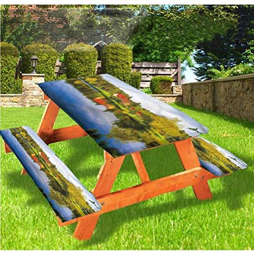 LEWIS FRANKLIN Cortina de ducha Paisaje Picnic Mesa y Banco Funda de mantel, Casa en Bosque Riverside Elastic Edge Mantel, 28 x 72 pulgadas, 3 piezas para mesa plegable