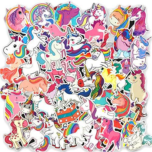 YZFCL Unicornio Pegatina de Dibujos Animados Maleta Maleta Palanca Caso Palo Ordenador portátil Palo Palo de Pared Impermeable 50 Piezas