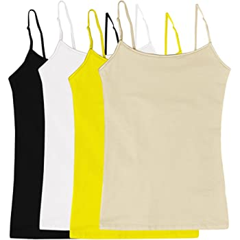 JKC USA Plus Size Womens Camisole Built-in Shelf Bra Adjustable Spaghetti Straps Tank Top 4 Pack