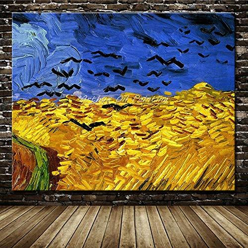 ZHUAIBA Kunst Handgemalte Leinwand Ölgemälde Impressionist Abstraktes Bild Der Fänger In Den Krähen Von Vincent Van Gogh Gemälde 100x130cm Ungerahmt