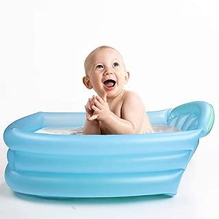 ベビーバス 空気で膨らませるバスタブ ミニー 折り畳み ふかふかで丈夫 ブルー 新生児~12ヶ月 赤ちゃん用 空気入れポンプ付き