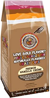 Crazy Cups Flavored Ground Coffee, French Vanilla Creme, in 10 oz Bag, For Brewing Flavored Hot or Iced Coffee