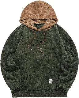 ZAFUL Color Blocking Fuzzy Hoodie Unisex Men Sherpa Pullover Loose Fluffy Sweatshirt