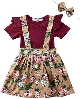 f973e98fdbb03 EDOTON T-Shirt Sangle Robe de Petite Fille Printemps Automne Robe à Manches  Longues Robe