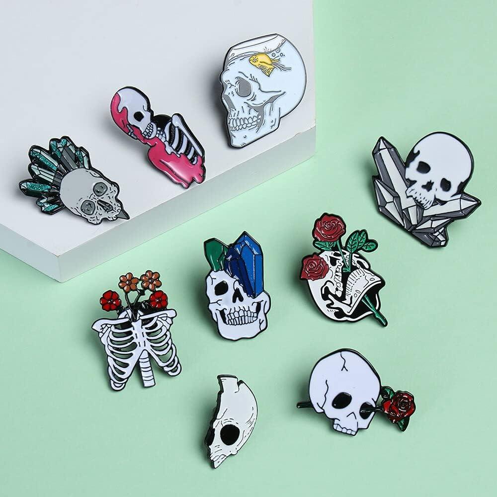 KASMOM Halloween Rose Skull Enamel Pins Lapel Pins Love and Death Badge Romantic Halloween Brooch Punk Badges Shirt Bag Accessories - Style 2
