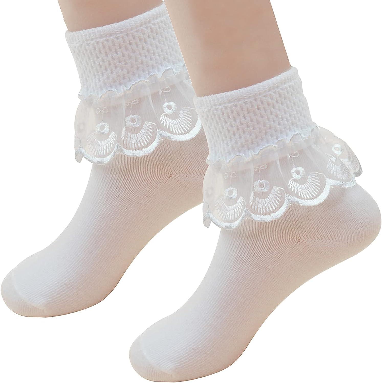2 Pack Baby Girls Ruffle Socks White Princess Eyelet Lace Trim Cotton Dress Socks for Infants Toddlers Kids 1-8T