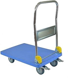 T-EQUIP Y1-120 - Carretilla con plataforma, 150 kg de capacidad de carga, mango plegable, AnxPxAl: 71 x 45,5 x 92 cm, azul