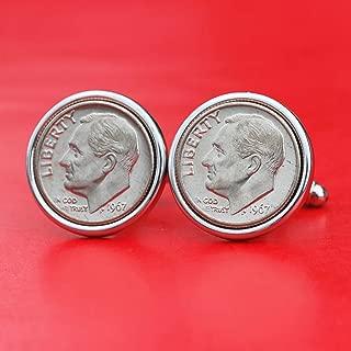US 1967 Roosevelt Dime Gem BU Uncirculated 10 Cent Coin Cufflinks NEW