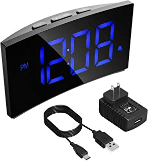 PICTEK Alarm Clock, Kids Digital Alarm Clock 5 inch Dimmable Curved LED Screen Time Clock for Bedrooms Desk Living Room, Snooze Function, 12/24 Hour, Battery Backup, USB Charger, Power Adapter