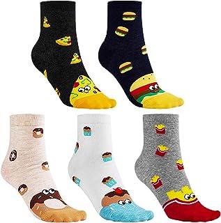 5 pares de calcetines universales para mujer, pastel de pizza, papas fritas, donas, hamburguesa, novedad linda, divertidos calcetines de algodón de dibujos animados para niñas, mujeres, damas