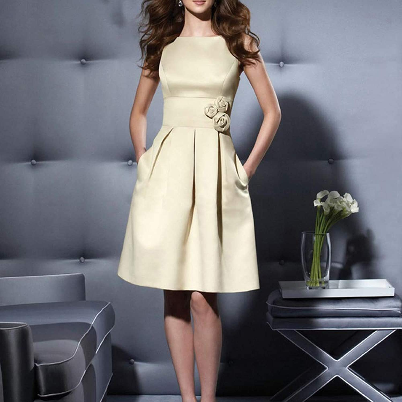 Sylviaan YY6 Women Round Neck Sleeveless Slim Short Evening Cocktail Dress
