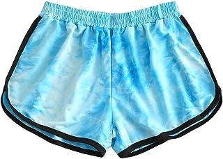 Beishi Womens Tie-Dye Sport Running Pants, Fashion Women High Waist Yoga Sport Pants Shorts Tie-Dye Dolphin Leggings