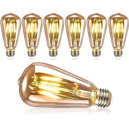 DASIAUTOEM Ampoule Edison Vintage, Ampoule LED Edison E27 Rétro Décorative Lampe ST64 4W Ampoule Vintage Nostalgiques Antique LED Ampoules Blanc Chaud, Idéal pour la Maison, Bars, Café, Restaurant