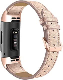 Simpeak Compatible Fitbit Charge 3 Band, Genuine Leather Replacement Strap Band Wristband Accessories Fitbit Charge 3 Smart Watch, Black/Grey/Brown/White/Beige/Gold/Flower
