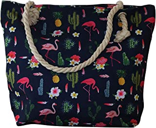 5a3356197b Chapeau-tendance - Grand sac de plage marine flamands roses - - Femme
