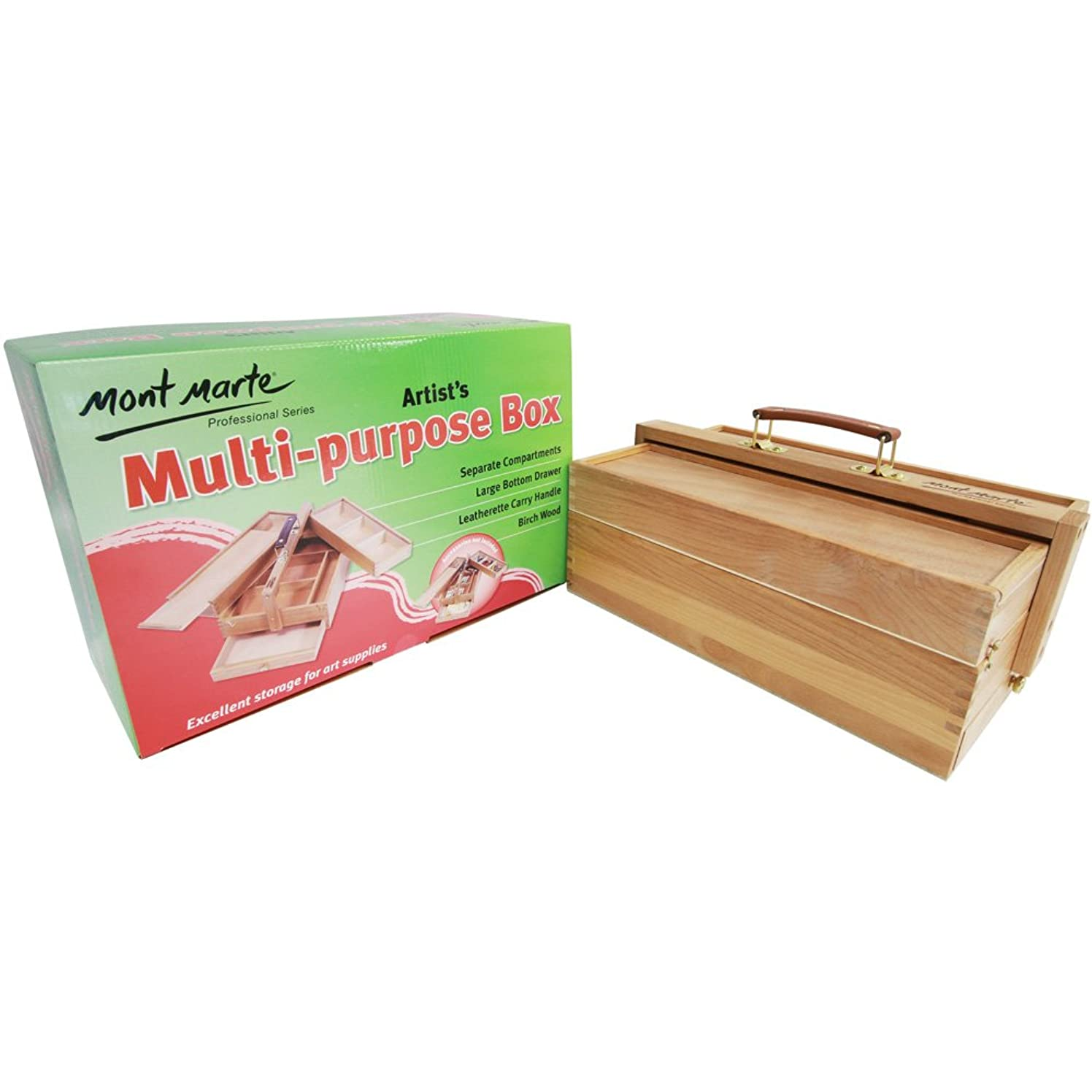 Mont Marte Multi-Purpose Wooden Art Box. 3 Layers of Storage for Organizing Art Supplies. Features a Leather Carry Handle for Easy Transport