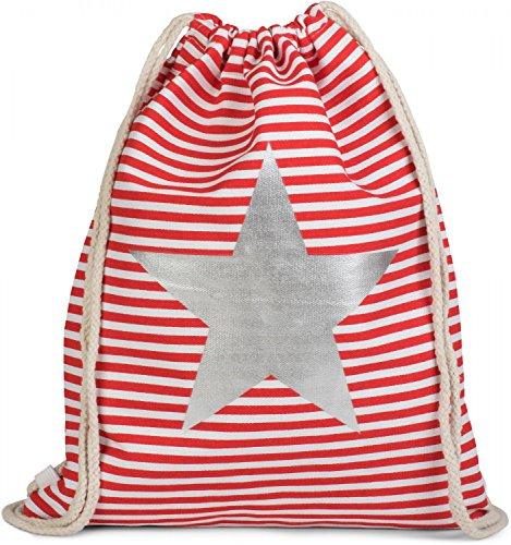 styleBREAKER Bolsa de Deporte, Mochila con diseño Marinero a Rayas y Estampado de Ancla, Unisex 02012052, Color:Rojo-Blanco/Plateado