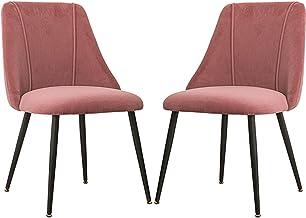ZCXBHD 2-pak flanelowe krzesła do jadalni z metalowymi nogami vintage fotel wypoczynkowy z całkowicie wyściełanym oparciem...