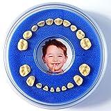 Firsty Caja de Dientes de Leche (Azul, Chico, Cumpleaños) con Texto en Espagnol, con Imán de Nevera Round - Se envía Todos los Martes y Viernes.
