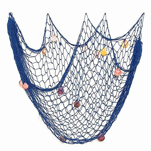 Mediterránea del Estilo Decorativa Red de Pesca Náutica Pirate Colgante Navegación Beach Decoraciones del Partido del Tema Pared Decoración (Azul, 2x1,5m)