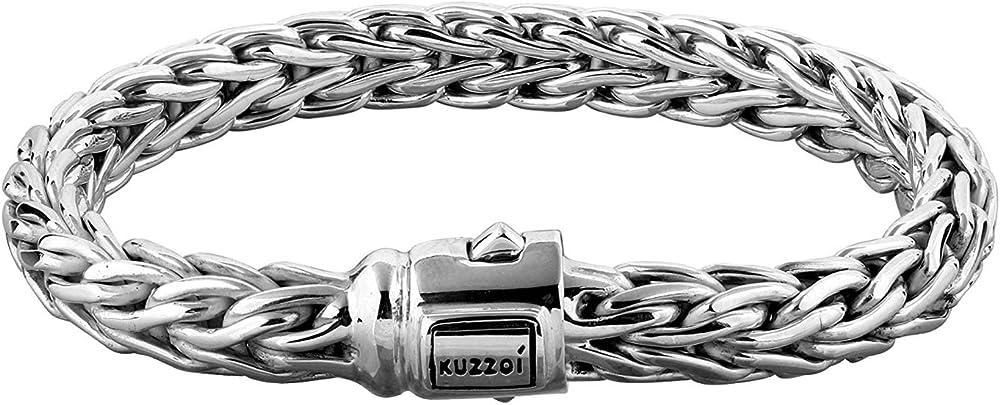 Kuzzoi,bracciale da uomo in argento sterling 925(66 gr) , massiccio , con incisione esclusiva 335202-019