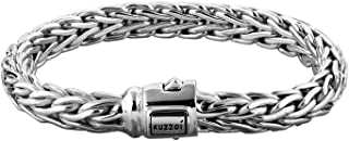 kuzzoi Men Bracelet Curb Cuban Chain Braided Cool with Clasp Made of 925 Sterling Silver, Length 8,27 inch - 9,05 inch, Wi...