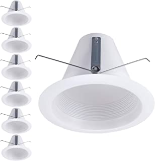 TORCHSTAR 6 Pack 6 Inch Recessed Can Light Trim, White Air Tight Baffle Trim, Anti-Glare Self-Flanged Downlight Trim, for PAR30, BR30, PAR38, BR40, A19 Bulbs & 6 Inch Housing Can (Renewed)