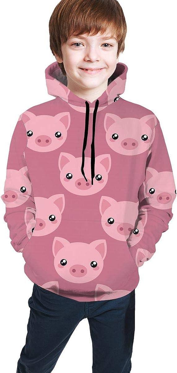 Delerain Pigs Hoodies Sweatshirts for Kids Teens Hoody Tops with