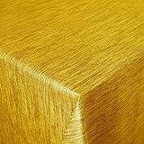 Wachstuch Robuste Leinen Prägung Pro Gelb Orange Breite & Länge wählbar - Größe ECKIG 120 x 160 BZW. 160x120 cm abwaschbare Tischdecke Gartentischdecke